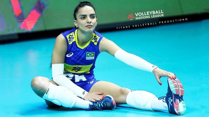 Natalia Araujo Beautiful Brazilian Libero Best Volleyball Actions Women's VNL 2019