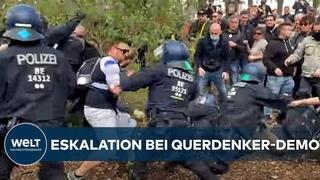 QUERDENKER-DEMO IN BERLIN: Angriffe auf die Polizei - massive Verstöße gegen Corona-Auflagen