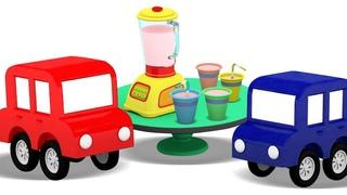 Dessin animé pour enfants sur les 4 petites voitures : Le mixeur pour faire un milk-shake