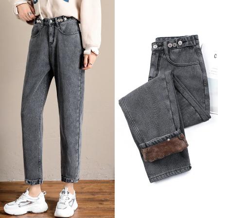 Тплые джинсы с высокой посадкой -