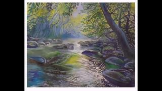 Как нарисовать весенний пейзаж гуашью  Как нарисовать пейзаж