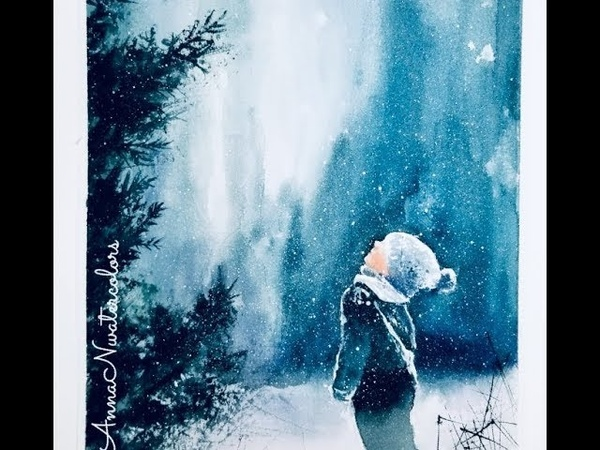 Quick DEMO - Little Boy Winter Scenery Watercolor Painting