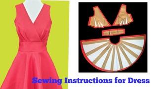 Hướng dẫn cắt may Đầm cổ tim chồng thân ,dáng xoè 180° |instructions for sewing dress |