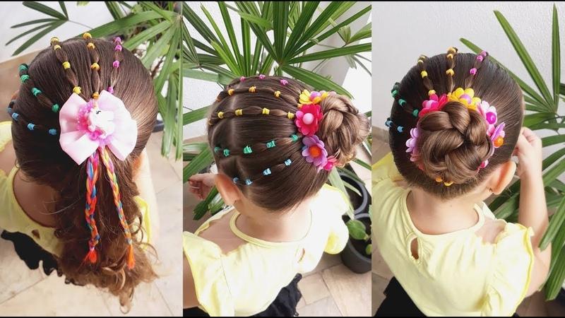 Penteado Infantil arco íris com ligas amarração ou coque