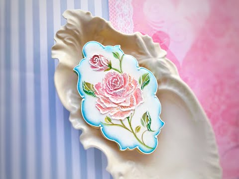 How to use stencil with petal Embroidery Rose 🌹
