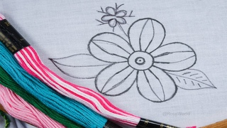 Hand Embroidery new beautiful elegant flower design with exclusive easy stitch