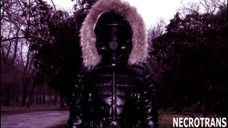 BLACK SKI OVERALL AND MODERN RUSSIAN PANORAMIC MASK MP-3 MADE INTO A RESPIRATOR. WALK IN BLACK SUIT