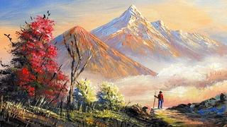 Nepali Painting | Painting a Beautiful Mountain Landscape with Acrylics | Art Candy | Nepali Artist