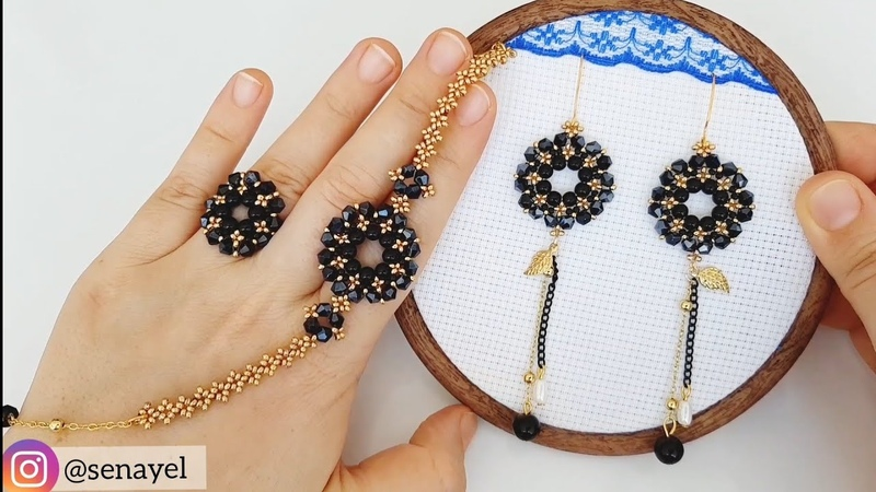 Boncuktan Çiçek Set Yapımı. How To Make Beaded jewelry set. Earrings, Bracelet Ring.