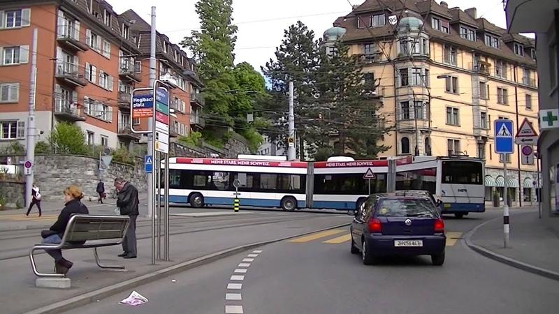 Zürich Trolleybus 71 wendet am Hegibachplatz