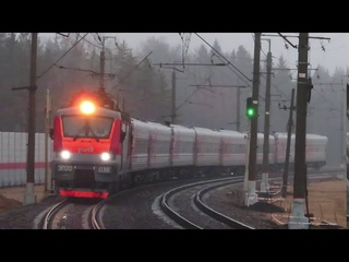 Электровоз ЭП20-038 с поездом№107М Москва-Брянск, ЭП2Д-0084 ЦППК Рэкс платформа Победа