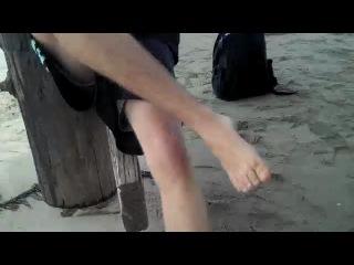 Josh putting his socks on