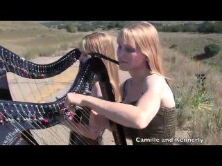 Американские сестры-близнецы игрют на арфах!!! SWEET CHILD O' MINE - Guns N' Roses (Harp Twins) Camille and Kennerly