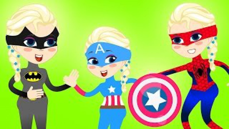 FROZEN ELSA SUPERHEROES Turns INTO Superheroes SPIDERMAN Captain America BATMEN ● Superheroes i