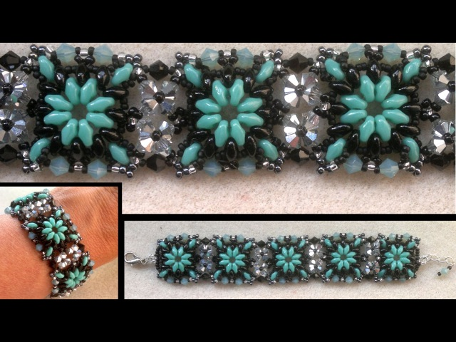 Beading4perfectionists Superduo connected with Swarovski beaded bracelet beading tutorial