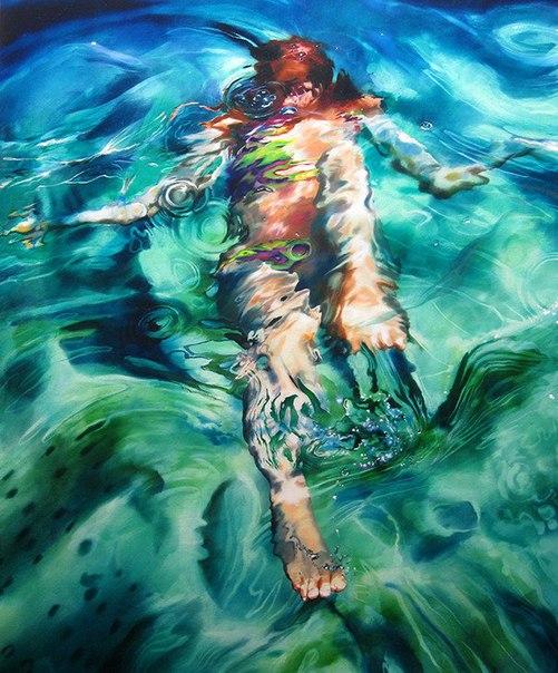 underwater painting of people by houston - 606×730