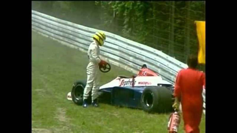 HD Ayrton Senna heavy crash Hockenheim 1984 Grand Prix of Germany LIVE BBC COMMENTARY
