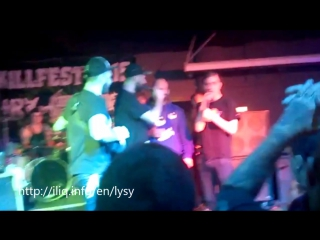 Fight between a rock-singer and a listener on the stage