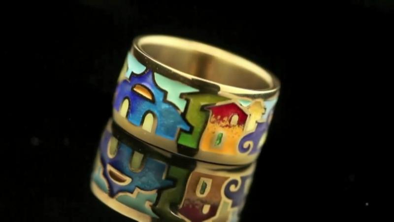 Pure Emotions Галерея ювелирного искусства: Кольцо с горячей эмалью итальянские домики из серебра от Namfleg