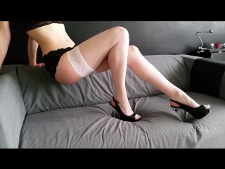 Eve in white stockings and black panties