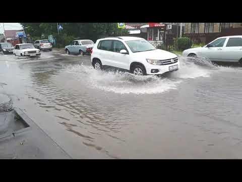Потоп в Пятигорске на улице Нежнова 27 июля 2018 года