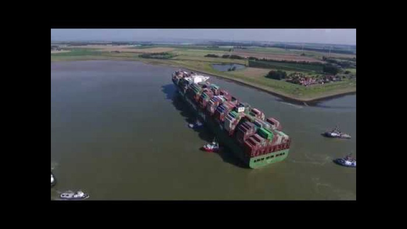 DJI Phantom 4 - CSCL Jupiter stuck at Westerschelde In the Netherlands (4K)