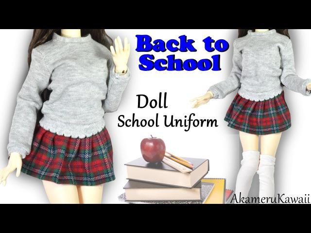 How to Cute Doll School Uniform - Back to School BJD Barbie Clothes Tutorial