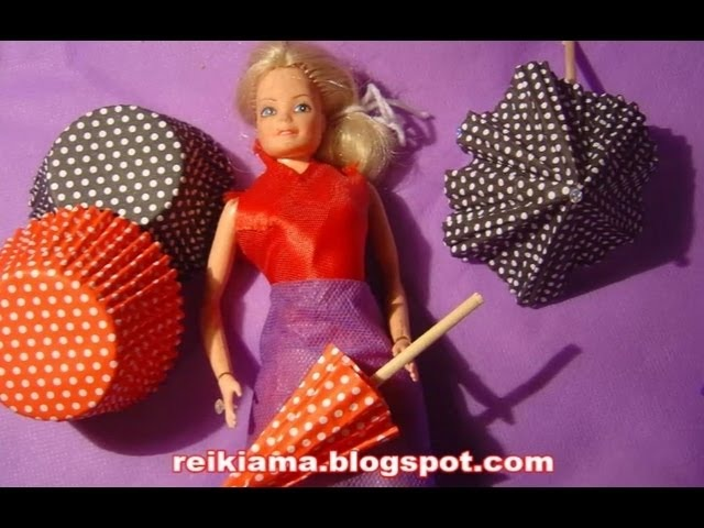 Sombrinha de pelotine para Barbie Monster ou decoração