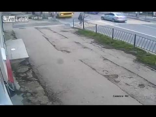 Blind driver and stupid pedestrian