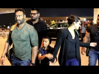 Ajay Devgan And Kajol Spotted With Son Yug At Airport