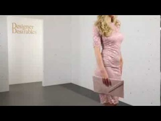 Goddess London Dusty Pink Short Sleeved Elegant Lace Pencil Dress