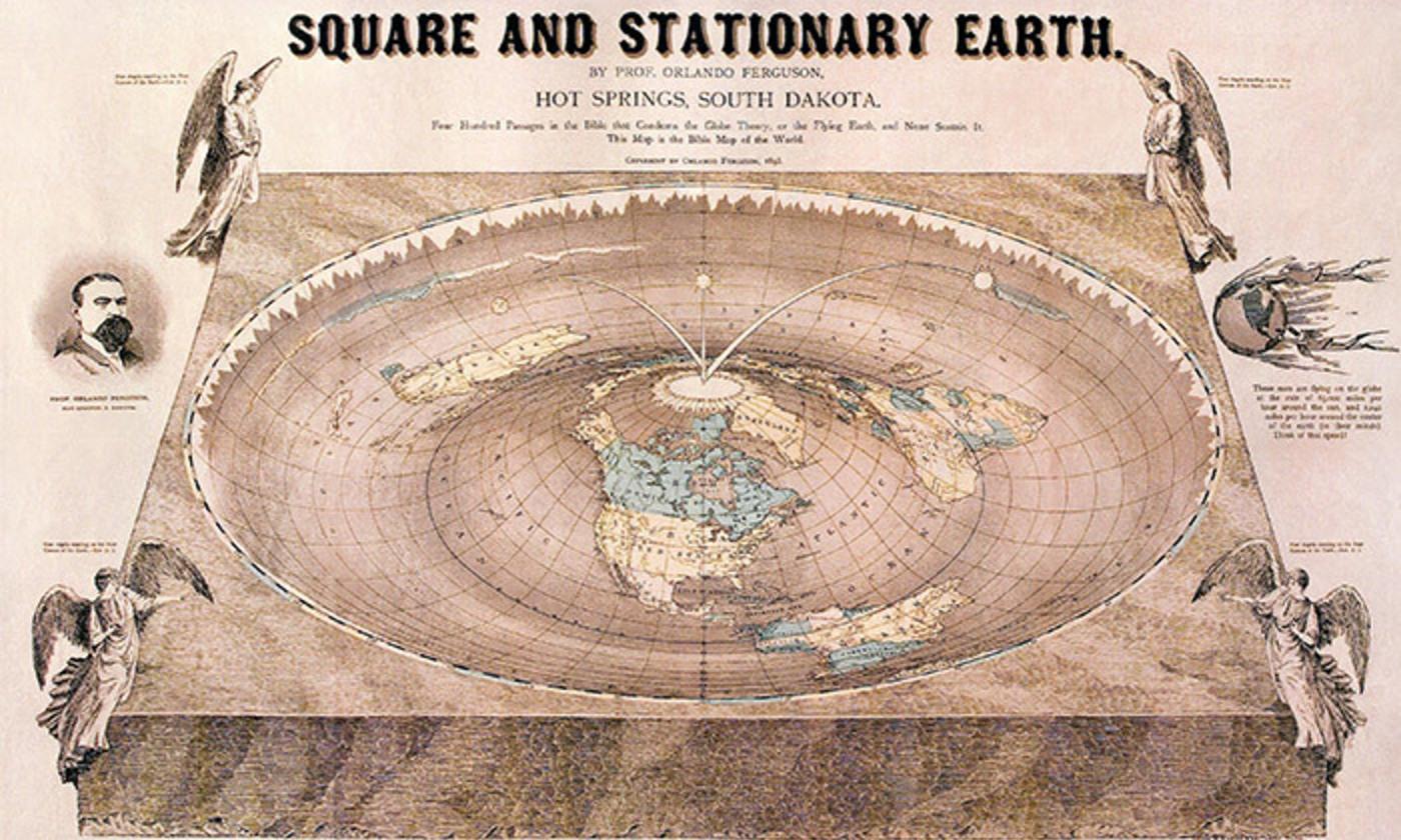 Карта квадратной и плоской Земли, 1893 год. Автор профессор Орландо Фергюсон, Орландо, Южная Дакота.