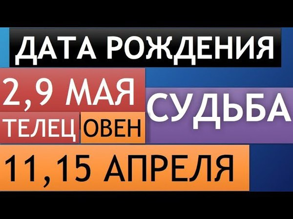 Гороскоп по дате рождения ТЕЛЕЦ 2 и 9 мая   ОВЕН 11 и 15 апреля