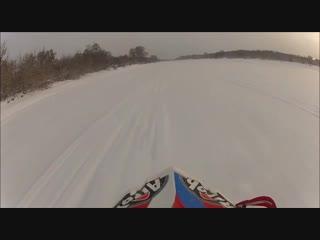 Мотоцикл ушёл под лёд. будьте осторожны!