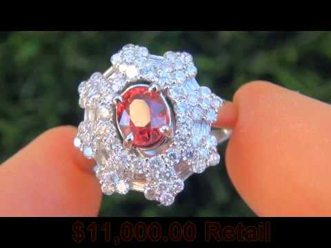 VERY RARE 3.77 Carat Padparadscha Sapphire Diamond Ring Solid 18K Gold - $1 Million Dollar Estate