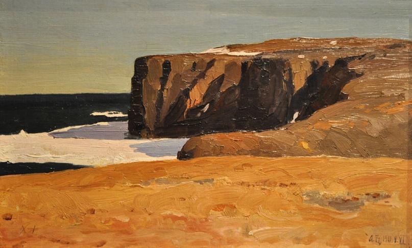 «Лето на берегу Карского моря. Болванский нос» — художник А.А. Борисов, первый живописец Арктики, тоже был очарован этими местами, Вайгачом и Новой Землей. На острове я стала понимать Борисова очень хорошо.