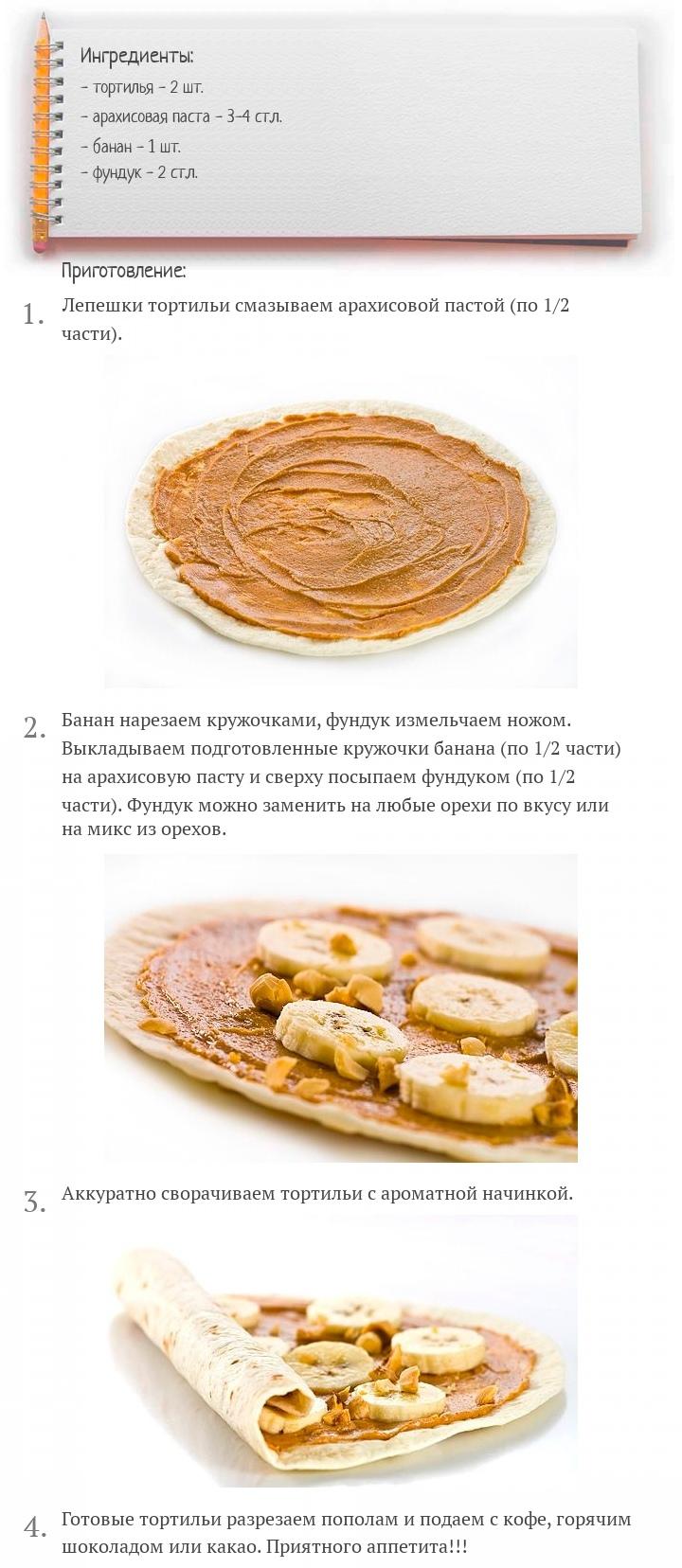 Тортилья с арахисовым маслом, бананом и орехами, изображение №2