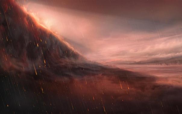 На изображении художник представил железный дождь на планете WASP-76b, расположенной в 640 световых годах от нас в созвездии Рыб С помощью телескопа VLT исследователям удалось подтвердить