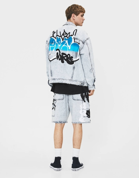 Джинсовые шорты с принтом «Граффити»