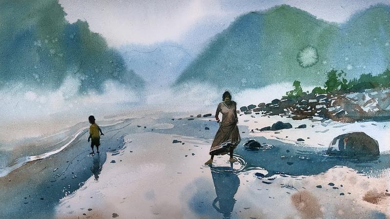Watercolor Landscape Painting of Ganga River | Rishikesh | Prashant Sarkar.