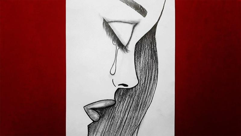 Çok Kolay Üzgün Kız Çizimi / Ağlayan Kız Nasıl Çizilir