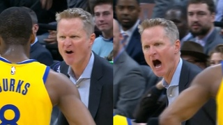 "Angry Steve Kerr yelling at the ref ""wake the f—k up!"" then gets ejected"