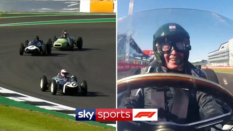 Jenson Button Martin Brundle Johnny Herbert race Stirling Moss' vintage F1 cars