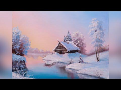 Зимний пейзаж поэтапно Мастер класс по живописи маслом для начинающих художников