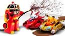 Машинки Робокар Поли игрушки из Монкарт и Дикие Скричеры Видео на английском языке