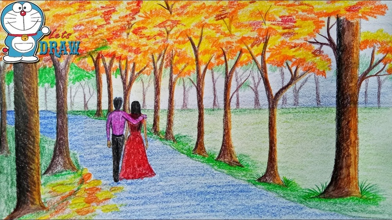 How to draw scenery of autumn season Step by step