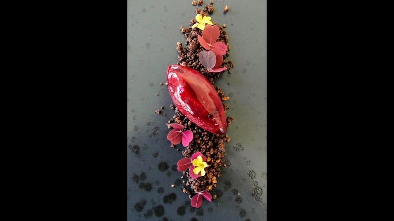 Sorbete de remolacha con tierra de chocolate y nueces