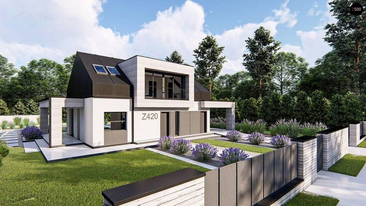 Современный дом с двускатной крышей, мансардными окнами и навесом для гаража