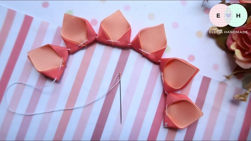 Amazing Kanzashi Flower Hand Embroidery Works Ribbon Tricks Easy Making Tutorial 16