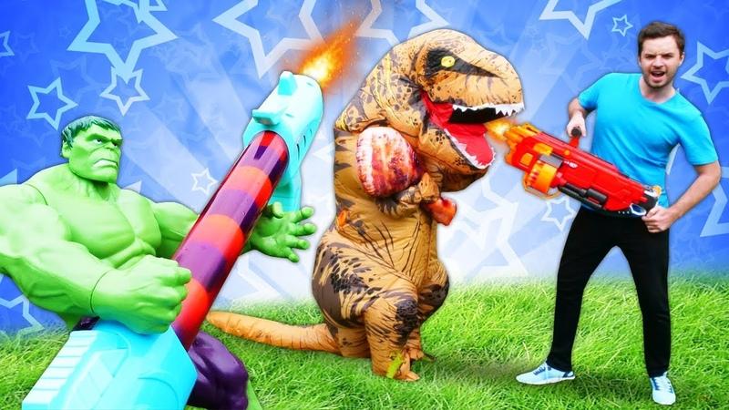 Hulk dinozoru teleportla gönderiyor! Blaster oyuncakları. Erkek oyunları